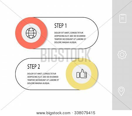 Vector Template Circle Infographics. Business Concept With 2 Options And Labels. Two Steps For Diagr