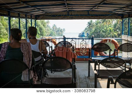 Alappuzha, Kerala, India - 17 November 2017: Indian Tourists On Deck Of The Ferry Along The Kollam K