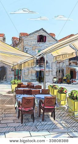 Croatia town street - illustration poster