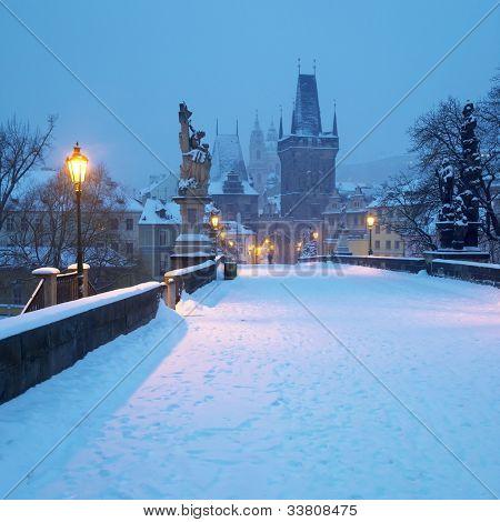 Charles bridge in winter, Prague, Czech Republic poster