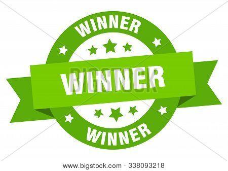 Winner Ribbon. Winner Round Green Sign. Winner