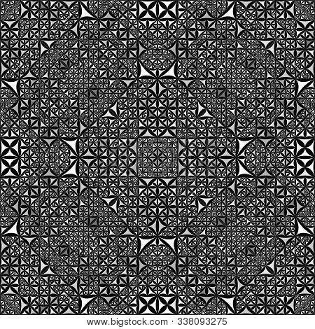 Grey Seamless Kaleidoscope Pattern Background - Abstract Geometrical Vector Wallpaper Illustration F