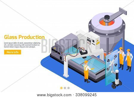 Glass Production Isometric Background With Editable Text Read More Button And Composition Of Glasswo