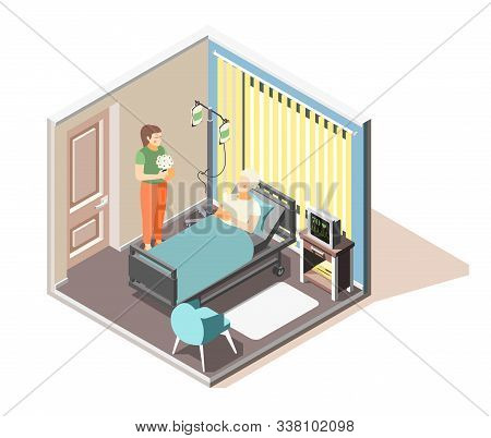 Depression Anxiety Acute Stress Disorder Isometric Composition With Visitor Bringing Flowers To Hosp