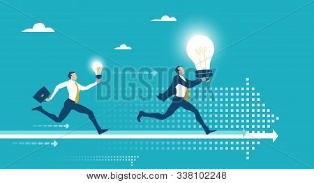 Business People Running And Competing For The Better Deal, Place, Professional Growth. Successful Bu