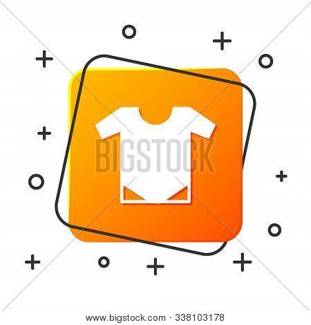 White Baby Onesie Icon Isolated On White Background. Baby Clothes Symbol. Kid Wear Sign. Orange Squa