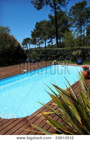 View of swimming pool with teck wood flooring