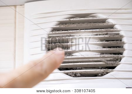 A Finger Pointing On A Very Dusty And Dirty Ventilaion Frame At Home, Dusty Home And Allergy Concept