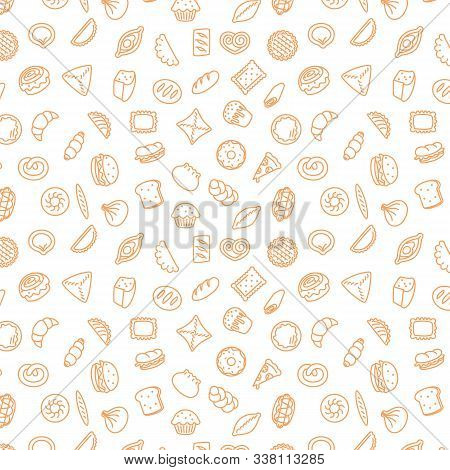 Bakery Products. Fast Food. Patty Pattern Stroke