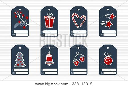 Christmas And New Year Tags Set With Mittens, Gift, Liquorice Stick And Etc. Collection Of Holiday G