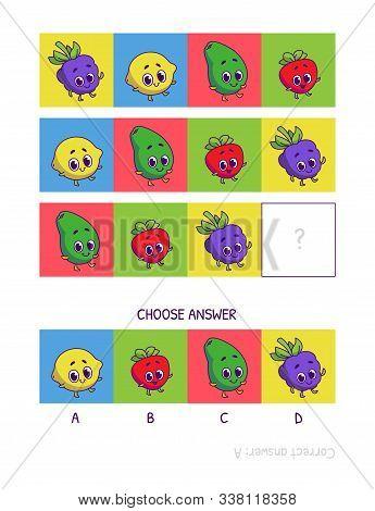 Cute Blackberry, Lemon, Avocado, Strawberry . Logic Game For Children Preschool Worksheet Activity F