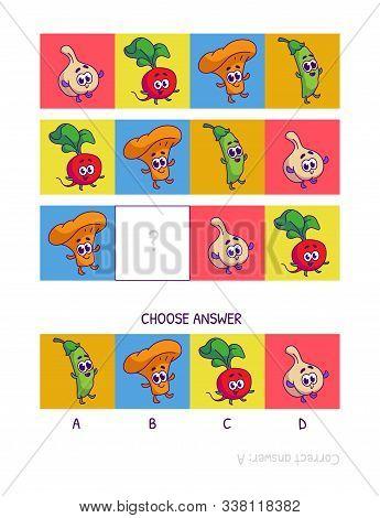 Cute Garlic, Radish, Chanterelle, Peas. Logic Game For Children Preschool Worksheet Activity For Kid