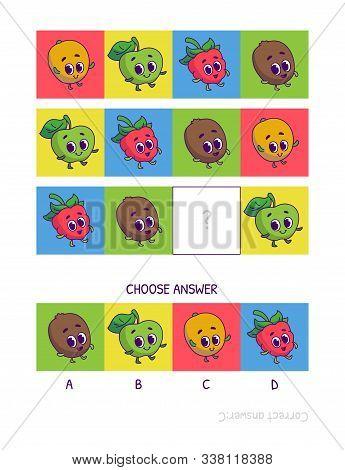 Cute Mango, Green Apple, Raspberry, Kiwi. Logic Game For Children Preschool Worksheet Activity For K