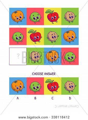 Cute Tangerine, Lime, Red Apple, Walnut. Logic Game For Children Preschool Worksheet Activity For Ki