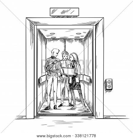 Elevator Pitch, People, Hand Drawn Vector Image,