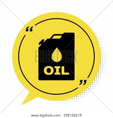 Black Plastic Canister For Motor Machine Oil Icon Isolated On White Background. Oil Gallon. Oil Chan
