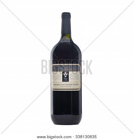 Bottle Italian Wine On White Background. Full White Wine Bottle. Isolated White Background. Wine Bot