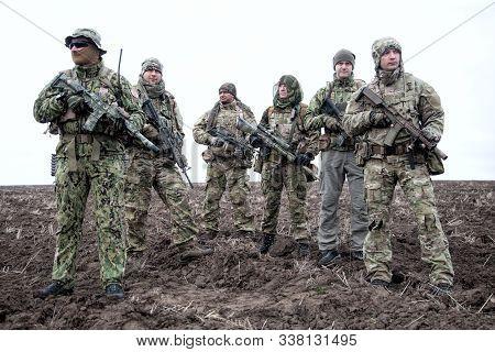 Army Soldiers Group On March In Muddy Field Aaa Aaaa Aaaa Aaa