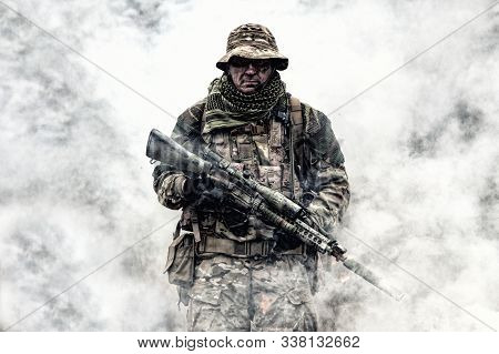 Brutal Commando Veteran Army Soldier Armed Sniper Rifle