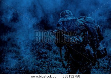 Commando Sniper Shooting With Rifle At Night