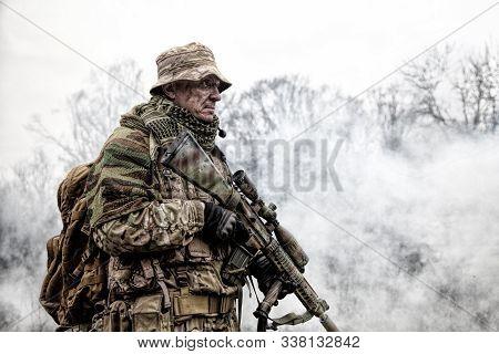 Brutal Commando Army Veteran Armed Sniper Rifle