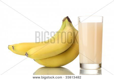 Bunch of bananas with banana juice isolated on white