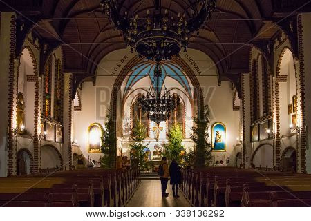 Sopot, Poland - December 20, 2017: Christmas Interior Of The Garrison Church Of St George In Sopot.