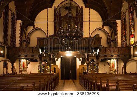 Sopot, Poland - December 20, 2017: Interior Of The Garrison Church Of St. George In Sopot. Originall