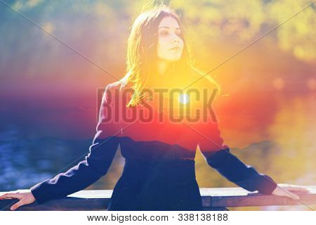 Double Multiply Exposure Portrait Of A Dreamy Cute Woman Standing Outdoors, Combined Photograph Of N