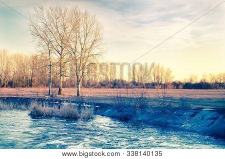 Landscape Of Rural River And Blue Sky