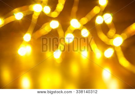 A Magic Christmas Garland With Defocused Lights