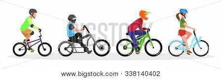 Three Guys And Girl In Helmets Riding Freestyle Trick, City Cruiser, Mountain, Touring Bicycles. Urb