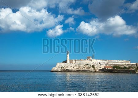 Castillo Del Morro lighthouse built in 1845 in Havana in Cuba from the popular malecon avenue