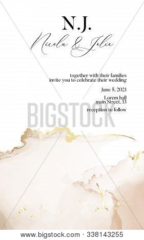 Wedding Invitation Cards With Luxury Gold And Soft Beige Marble Texture Background And Abstract Wate
