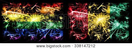 Gay Pride Vs Guinea, Guinean New Year Celebration Sparkling Fireworks Flags Concept Background. Abst