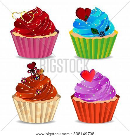Set Of Colorful Cupcakes. Greeting Card For Valentine's Day, February 14, Love.