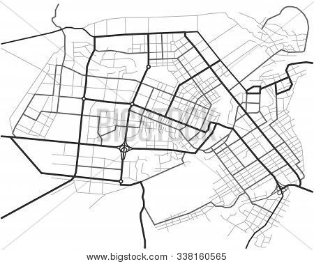 Master Plan Of Barnaul City. Town Streets On The Plan. Map Of The Scheme Of Road. Urban Environment,