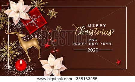 Festive Merry Christmas And Happy New Year Background. Christmas Vector Top View Background With A G