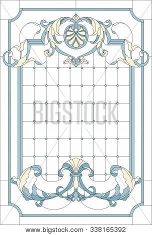Stained-glass Window Decoration Panel In A Rectangular Frame, Abstract Floral Arrangement Of Buds An
