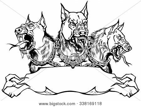 Cerberus Hell Hound. Mythological Three Headed Dog The Guard Of Entrance To Hell. Hound Of Hades. Lo