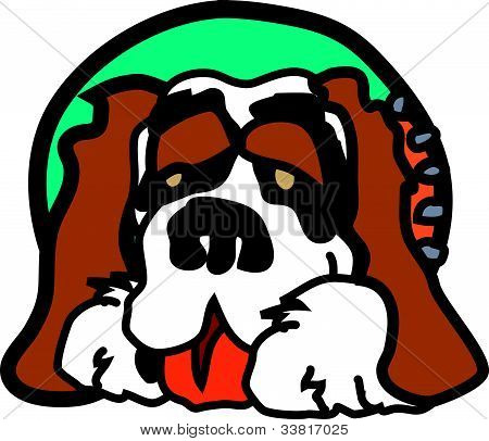 Cute, lovable Saint Bernard dog grinning with a happy look on his face poster