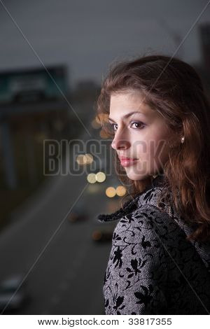 beauty girl on night street