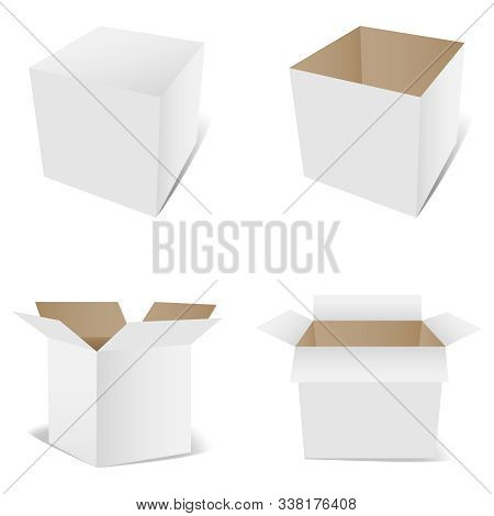 Open And Closed Packaging Boxes. Perspective Cube Isolated On White With Shadow. 3d Mock White Box.