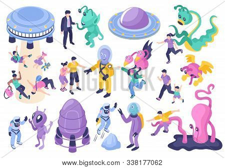 Ufo And Aliens Cartoon Set Of Fantastic Monstrous Characters Chasing Children And Adults Isolated Ve