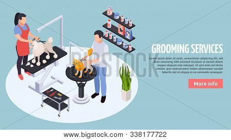 Online Pet Services Near You Info Booking Paying Isometric Landing Page With Stylists Grooming Dogs