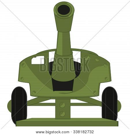 Vector Illustration Of The Artillery Weapon Gun Type Frontal
