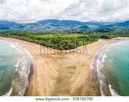 Aerial View National Park Punta Uvita Beautiful Beach Tropical Forest Pacific Coast Costa Rica Shape