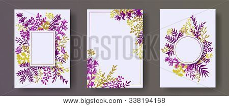 Botanical Herb Twigs, Tree Branches, Leaves Floral Invitation Cards Collection. Herbal Corners Moder