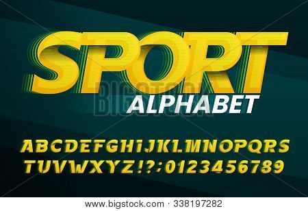 Sport Alphabet Font. Abstract Oblique Letters And Numbers. Stock Vector Typescript For Your Typograp