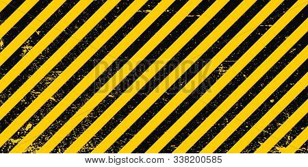 Industrial Background Warning Frame Grunge Yellow Black Diagonal Stripes, Vector Grunge Texture Warn